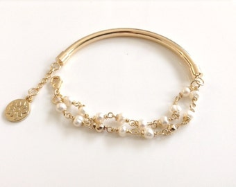 Pearl bracelet gold filled tube Genuine Freshwater Real Pearl Gold filled Jewelry Bridesmaid bracelet Bridal Bracelet Wedding jewelry