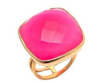 Ring 925 Sterling Silver Fuchsia Chalcedony Gemstone Ring-Vermeil Gold