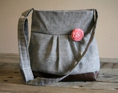 Concealed Carry Purse, Large Messenger Bag, Grey Purse, Conceal Carry Handbag, Concealed Carry Purse, Conceal and Carry, Womens CC
