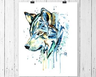 WOLF 2 PRINT Wolf Art, Wolf Watercolour, Wolf painting, wildlife art, wildlife painting, watercolour print, modern watercolour, northern art