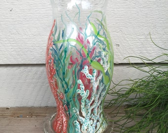 Coastal decor | hurricane vase| Kate McRostie | hand painted vase| beach decor | coastal vase