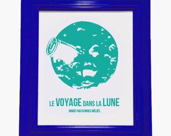 """Silk Screen Print """"A Trip to the Moon/Le Voyage dans la Lune"""" Art, 9""""x12"""", Choose Your Color Ink"""