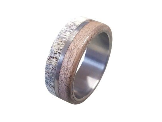 Titanium Ring, Deer Antler Ring, Antler Ring, Mens Titanium Wedding Band, Oak Wood And Antler Inlays, Wood Ring