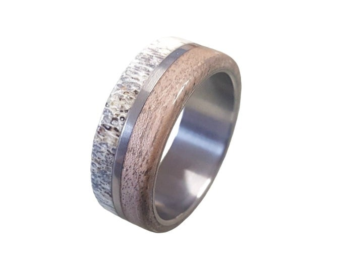 rings tungsten and antler band products grande deer wood oak us ring wedding
