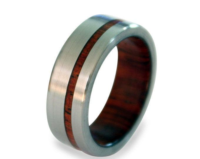 Titanium ring for men with mahogany wood inner and inlay