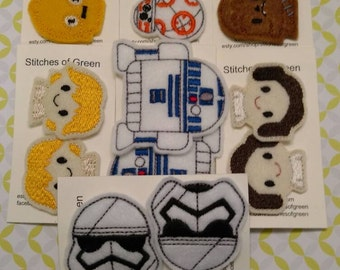 Space Fighters Felt Snap Hair Clips