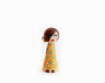 Child figure / Figurine custom wood / peg doll child - 6cm