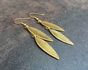 Leaf Earrings / Gold Dangle Earrings / Handmade Jewelry