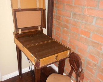 Vintage Suitcase Desk with Chair
