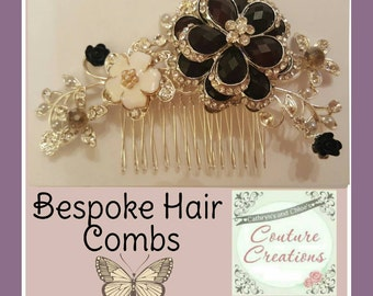 Wedding or Prom Hair comb Black and silver hair comb with pearl and glass briolette beading
