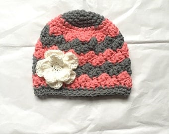 Coral pink, light gray and white beanie. Striped gray hat. Baby/girl crochet cotton beanie. Coral pink, gray, white hat. Baby/girl accessory