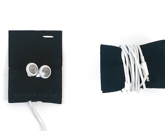 Earbud Case - Black Leather