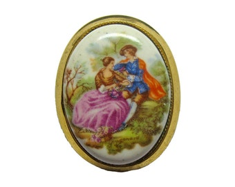 Portrait Pin Victorian Scene / Signed Fragonard Pin / Vintage Pin / Collectible Jewelry / Vintage Jewelry