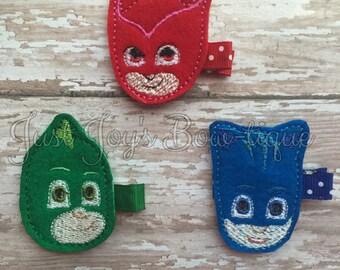 PJ Masks Felt Clip- PJ Mask hair bow - pj masks hair bow- pj mask party - pj masks party- pj masks birthday