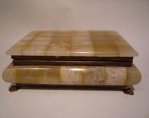 Vintage Alabaster Marble Jewelry Trinket Box Brass Claw Feet Italy