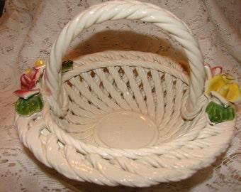 Vintage Handmade Capodimonte Decorative Porcelain Woven Lattice Basket Made In Italy