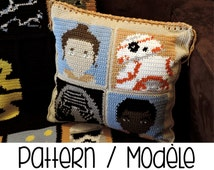 PDF PATTERN : Star Wars cushion crochet pattern - add on to StarWars Graphgan ! 4 graphs included - the force awakens crochet pillow pattern