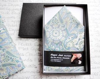 Pocket Square, pastel blue paisley pocket square, pocket squares for men