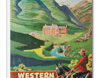Banff Art Vintage Lake Louise Canada Poster Print Canvas Hanging Wall Decor xr876