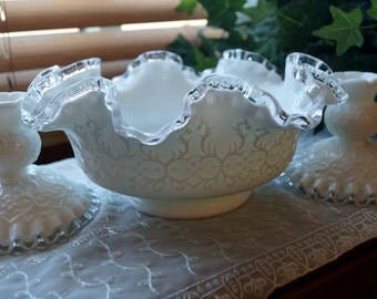Vintage Milk Glass Fenton Silver Crest Spanish Lace 1970 3 Piece Compote Candle Holder or Candy Dish