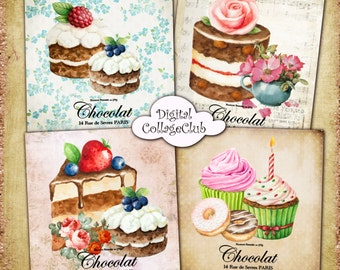 Shabby Chic French Cupcakes and Cakes - 3.8x3.8 inch Digital Collage Sheet Printable Digital Images for Coasters Greeting Cards