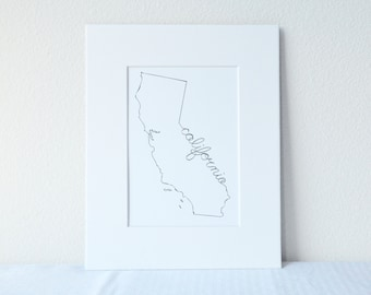 California Art Print State Outline, 5x7 Print in 8x10 White Mat Board