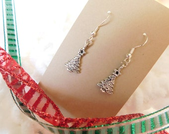 Christmas Tree Earrings, Holiday Earrings, Festive Jewelry, Stocking Stuffer