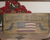 Liberty & Justice americana flag and crows upcycled recycled repurposed rustic wood pallet sign