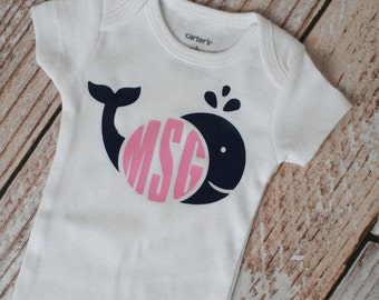 Personalized Girl Monogram Whale, Sea, Nautical, Anchors, Summer Bodysuit Long or Short Sleeve