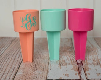Personalized Monogram Beach Spike or Spiker Drink and Beverage Holder