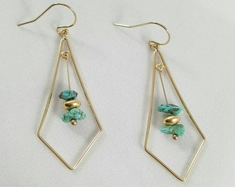 Turquoise Gold Filled Chandelier Earrings
