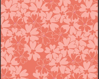 Sequins in Coral (BE-7109) - Bespoken by Patricia Bravo for Art Gallery Fabrics - By the Yard, coral flowers, peach, coral floral fabric