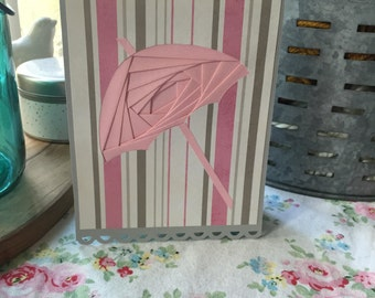 Rainy Day Umbrella Iris Folding Card