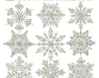 Premium Glitter Snowflakes in Silver - Silver Glitter Snowflake Clipart, Snowflake Vectors, Clipart Glitter Snowflakes, Christmas Clipart