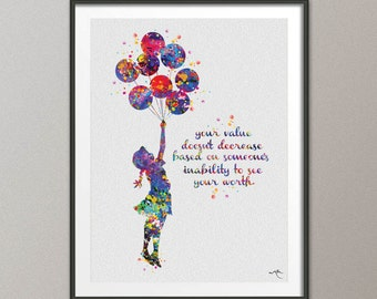 Banksy Balloon Girl  Watercolor Painting Art Print Wall Art Poster Giclee Wall Decor Art Wall Hanging Geekery Nerdy Inspirational [NO 398]