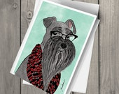 Cute hipster Miniature Schnauzer wearing glasses illustrated watercolor blank note card with envelope art print