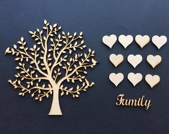 SINGLE Wooden MDF Family Tree & hearts,complete set,weddings guestbooks 001