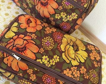 Vintage 1970's Retro Luggage Set, Brown Yellow Orange Flowers, Soft Suitcases