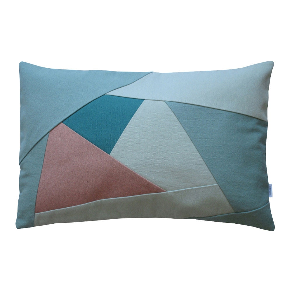 Green Geometric Throw Pillow : Green lumbar throw pillow case/ Geometric lumbar throw pillow