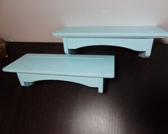 Vintage Wooden Plate Display Shelves Set of 2 - Painted Light Blue with Chippy Paint - Rustic Style or Shabby Chic