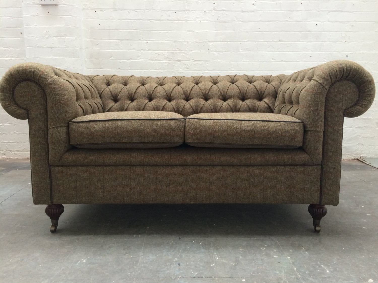 Harris tweed chesterfield sofa by designerworkshopuk on etsy for Leather and tweed sofa