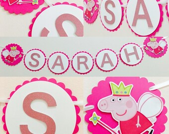 Peppa pig birthday banner, peppa pig party, peppa pig banner, peppa pig name banner, peppa pig decor, peppa pig party supplies