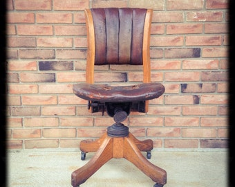 Vintage Solid Oak and Leather Gunlocke Banker's Chair, Adjustable Office Chair, Desk Chair