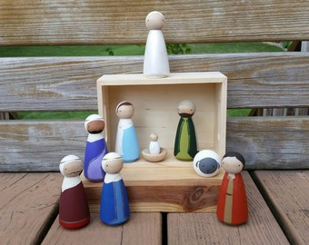 """READY TO SHIP - Hand Painted 3 1/2"""" Peg Doll Nativity Set - Includes Stable/Storage Box - Updated for Holiday 2016"""