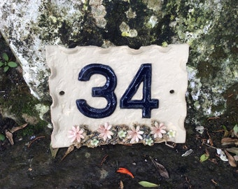 House number plaque,  ceramic door numbers, house sign