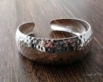 Hammered sterling silver bracelet. Sterling silver Bangle Cuff, Sterling Silver Bracelet, Wide bracelet hammered sterling silver