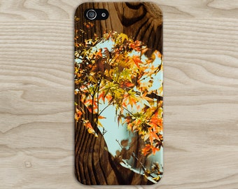 Changing Fall Leaves x Tree Wood Case, iPhone X, iPhone 8 Plus, Protective iPhone Case, Galaxy s8, Samsung Galaxy Case, Note 8, CASE ESCAPE