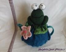 Knit Frog on a Lilypad Teapot Cozy - Knit Teapot Cosy - Knitted Tea Cosy - Knit Teapot Cover