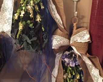Set of 2 Burlap/Lace/Royal Blue Tear Drop Swags w/Hydrangea, Eucalyptus and other Handwrapped florals