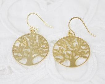 925 Sterling Silver Tree of Life Charm Earrings . Bridesmaid Gift Bridesmaid Earrings Dainty and Delicate Earrings